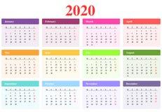 Calendario 2020 Imagen de archivo libre de regalías
