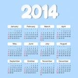 Calendario 2014 años Fotografía de archivo libre de regalías