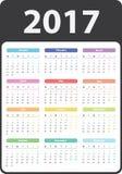Calendario 2017 años Fotos de archivo