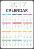Calendario 2017 años Imágenes de archivo libres de regalías