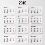 Calendario 2018 años Ilustración del vector Fotos de archivo