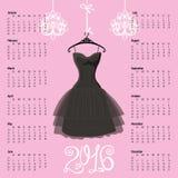 Calendario 2016 años Silueta negra del vestido Foto de archivo libre de regalías