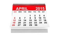 Calendario abril de 2015 ilustración del vector