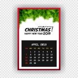 Calendario abril de la Feliz Año Nuevo 2019 de la Navidad libre illustration