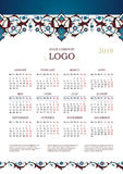Calendario adornado adornado para 2018 Fotos de archivo