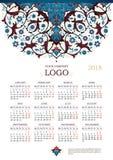 Calendario adornado adornado para 2018 Imágenes de archivo libres de regalías