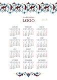 Calendario adornado adornado para 2018 Fotografía de archivo