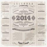 Calendario adornado del vintage de 2014 Foto de archivo