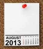 Calendario agosto de 2013 Fotografía de archivo libre de regalías
