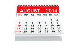 Calendario agosto de 2014 Fotografía de archivo libre de regalías
