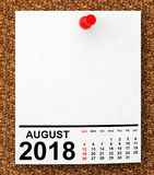 Calendario agosto de 2018 representación 3d Foto de archivo