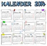 Calendario alemán 2014 Foto de archivo libre de regalías