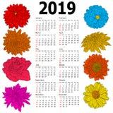 Calendario alla moda con i fiori per 2019 Settimana domeniche prime illustrazione vettoriale