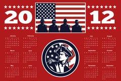 Calendario americano 2012 del cartel del indicador del patriota Imágenes de archivo libres de regalías