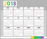 Calendario americano 2018 comienzos de la semana el domingo Imagen de archivo libre de regalías