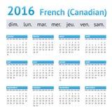 Calendario americano francés 2016 Comienzo de la semana el domingo Fotos de archivo libres de regalías