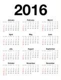 Calendario americano per 2015 Fotografia Stock Libera da Diritti