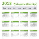 Calendario americano portugués 2018 Fotos de archivo
