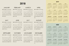Calendario 2018, 2019, 2020 anni Fotografia Stock