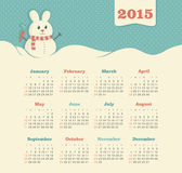 Calendario 2015 anni con il pupazzo di neve Immagini Stock