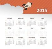 Calendario 2015 anni con il razzo Immagine Stock Libera da Diritti