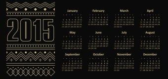 Calendario 2015 anni con l'ornamento Fotografia Stock Libera da Diritti