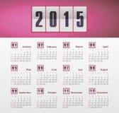 Calendario 2015 anni con la pendenza Fotografia Stock Libera da Diritti