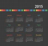 Calendario 2015 anni con le linee colorate Fotografia Stock