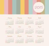 Calendario 2015 anni con le linee colorate Immagine Stock