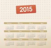 Calendario 2015 anni con punteggiato Fotografie Stock