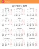 Calendario 2019 anni per il paese del Portogallo illustrazione di stock