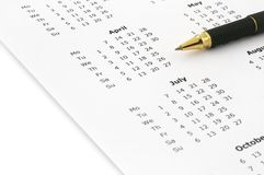 Calendario anual fotos de archivo