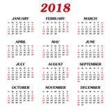Calendario anual 2018 Imagenes de archivo