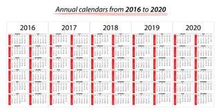 Calendario anual del planificador a partir de 2016 a 2020 ilustración del vector