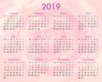 Calendario 2019 Rosa Portugues.Calendario Anual 2019 En La Rosa Ilustracion Del Vector