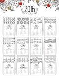 Calendario anual floral por el Año Nuevo 2016 Fotos de archivo libres de regalías