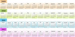 Calendario, Año Nuevo 2009, 2010, 2011, 2012 Fotos de archivo