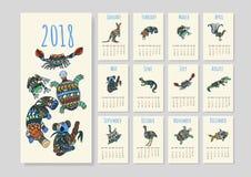 Calendario australiano de los animales en vector Imagenes de archivo