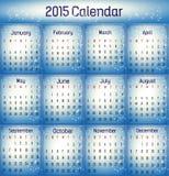 2015- Calendario azul del color Fotos de archivo libres de regalías