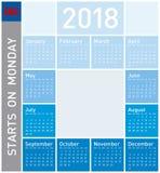Calendario azul por el año 2018, en inglés Fotos de archivo libres de regalías