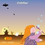 Calendario bajo de octubre para agregar los días Fotos de archivo