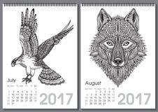 Calendario 2017 Bei animali disegnati a mano decorati Immagine Stock