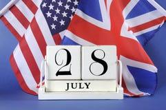 Calendario bianco del blocchetto di stile d'annata per il 28 luglio, inizio della prima guerra mondiale, centenario, Fotografia Stock