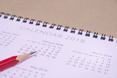 Calendario biglietto di S. Valentino ` s giorno del 14 febbraio 2018 Fotografia Stock