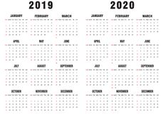 2019-2020 calendario blanco y negro libre illustration