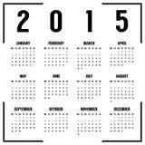 Calendario blanco y negro europeo de 2015 años Imágenes de archivo libres de regalías