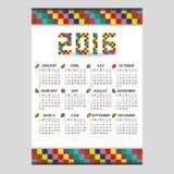 calendario blocky di colore di 2016 pareti dai piccoli numeri illustrazione vettoriale