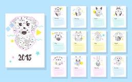 Calendario 2018 Cani immagini stock