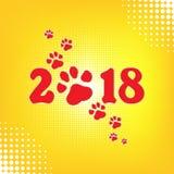 Calendario chino por el Año Nuevo del perro 2018 Paw Print Ilustración del vector EPS 10 Diseño original Fondo de semitono retro Fotos de archivo libres de regalías