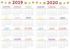 Calendario Colorato 2019-2020 Na Mnie Bambini obraz stock
